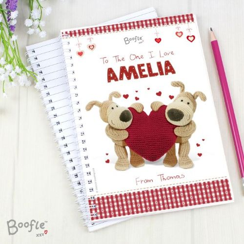 Personalised Boofle Shared Heart A5 Notebook
